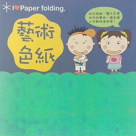 Papel P/ Origami 15x15cm EC 35 Puli Paper Verde Água Iridescente (10fls) - 6538