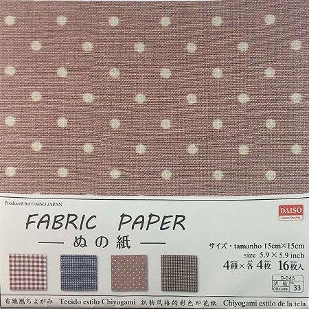 Papel de Origami 15x15cm Face Única Estampada Fabric Paper D-045 No. 33 (16fls)