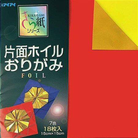 Papel p/ Origami 15x15cm Dupla-Face Metálico Foil KF 2015 (18 fls)