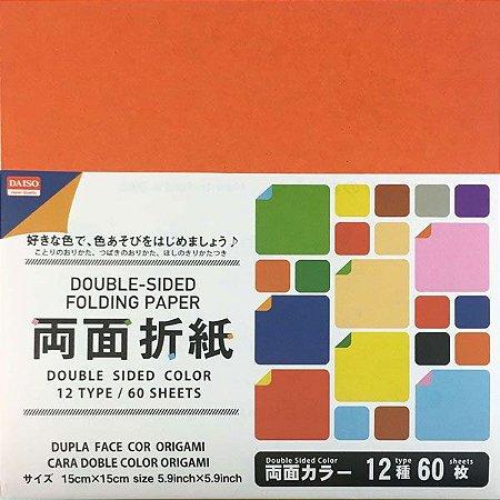 Papel para Origami 15x15cm Dupla-Face Lisa 12 Combinações de Cores no. 26 (60fls)