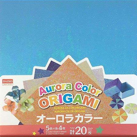 Papel P/ Origami 15x15 Face Única Aurora 5 Cores No. 16 (20 fls)