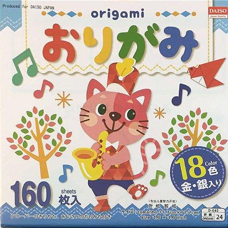 Papel P/ Origami 11,7x11,7cm Liso Face única 18 Cores No. 24 (160fls)
