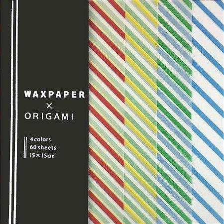 Papel Origami 15x15cm Transparente com Listras Waxpaper 4 Cores (60fls)