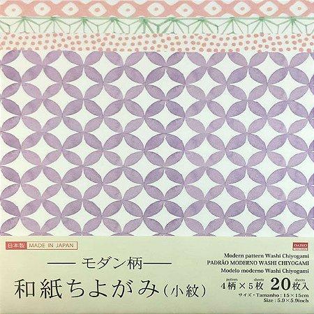 Papel p/ Origami 15x15cm Face Única Estampada Modern Pattern No. 40 (20fls)