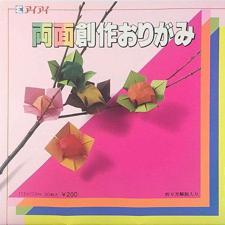 Papel P/ Origami 17,5x17,5cm Liso Dupla-face 16 Combinacões De Cores R-2017 (30fls)
