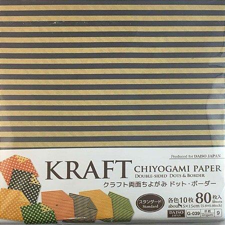 Papel p/ Origami 15x15cm Estampado Dupla-Face Kraft Chiyogami G-039 No. 9