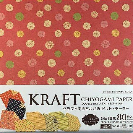 Papel p/ Origami 15x15cm Estampado Dupla-Face Kraft Chiyogami G-039 No. 10 (80fls)