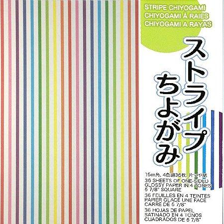 Papel p/ Origami 15x15cm Face Única Estampada Stripe Chiyogami STR200 (36fls)