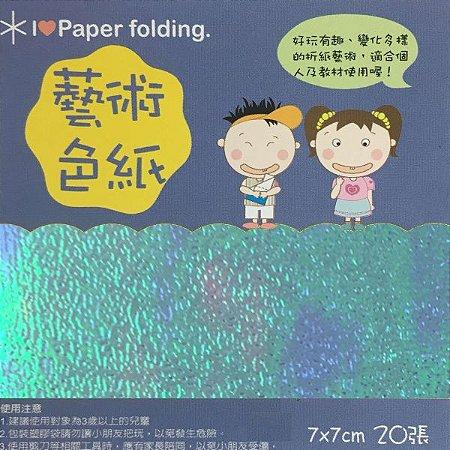 Papel p/ Origami 7x7cm Face Única Azul Claro Iridescente EC20 (20fls)