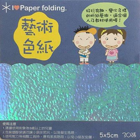 Papel p/ Origami 5x5cm Face Única Azul Claro Iridescente EC15 (30fls)
