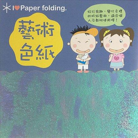Papel de Origami 15x15cm Face Única Azul Iridescente EC35 (10fls)
