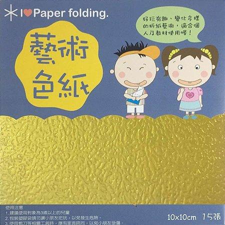 Papel p/ Origami 10x10cm Face Única Dourado EC25 (15fls)