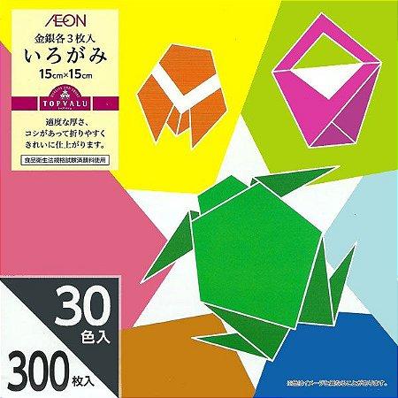 Papel p/ Origami 15x15cm Aeon 30 cores (300 fls)