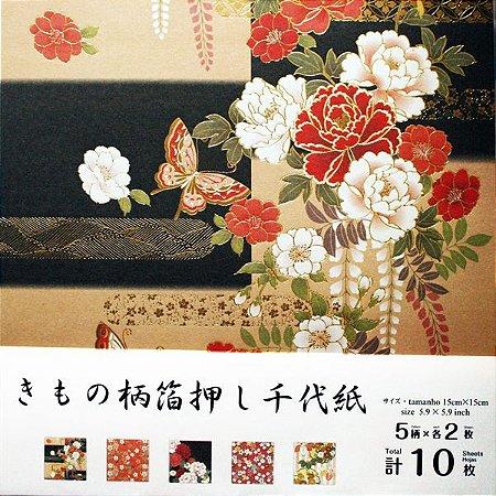 Papel p/ Origami Chiyogami Kimono Daiso (10fls)
