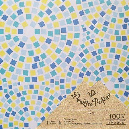 Papel P/ Origami 15x15cm Design Paper Face Única 5 estampas (100fls)