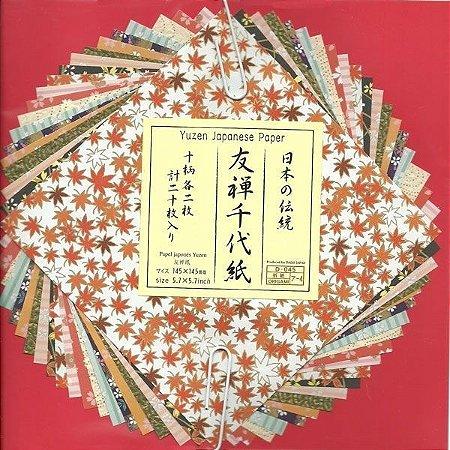 Papel P/ Origami 14,5x14,5cm Estampada Face única Yuzen Japanese Paper (20fls)