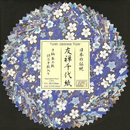 Papel P/ Origami 14,5x14,5cm Estampado Face única Yuzen Japanese Paper Azul (20fls)