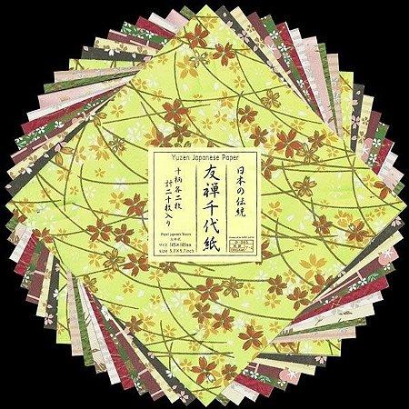 Papel P/ Origami 14,5x14,5cm Estampado Face única Yuzen Japanese Paper (20fls) - 1213