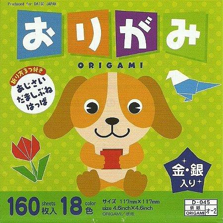 Papel P/ Origami 11,7x11,7cm Lisa Face única 18 Cores (160fls) D-045 O-2