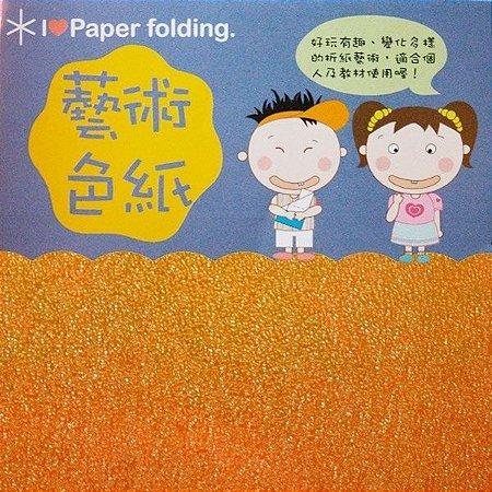 Papel P/ Origami 10x10cm Texturizado EC25 (15 Fls) Laranja