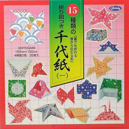 Papel P/ Origami 15x15cm Estampada Face -Única Chiyogami 23-1923-200 (32fls)