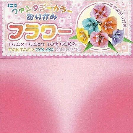 Papel P/ Origami 15x15cm Estampada Face única Fantasy Color Origami 009090-200 (50fls)
