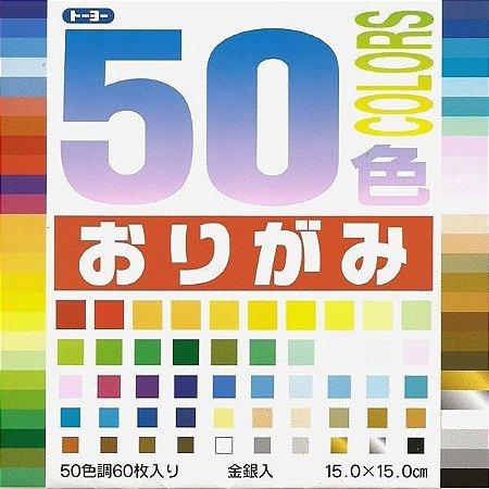 Papel P/ Origami 15x15cm Liso Face única 50 Cores 001008 (60fls)