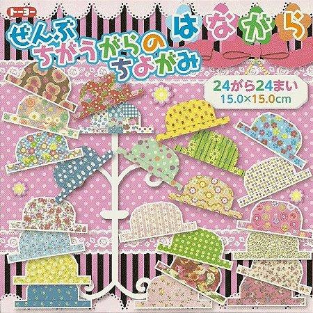 Papel P/ Origami 15x15cm Estampado Florido Face única 006027-200 (24fls)