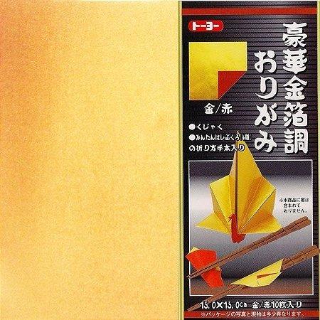 Papel P/ Origami 15x15cm Dourado e Vermelho - Toyo (10fls)