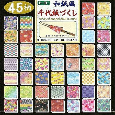 Papel P/ Origami 15x15cm Estampado Face única Chiyogamidsukushi 018053-1000 (180fls)
