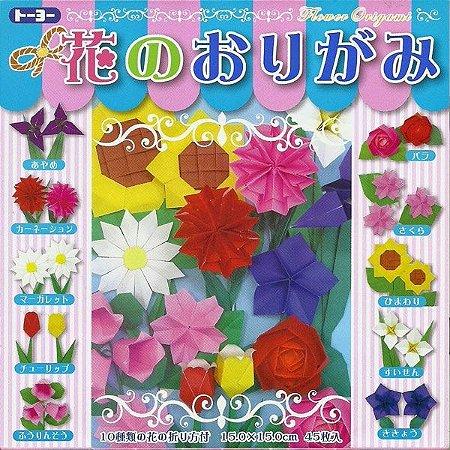 Papel P/ Origami 15x15cm Face única Flower Origami 14 Cores (45fls)
