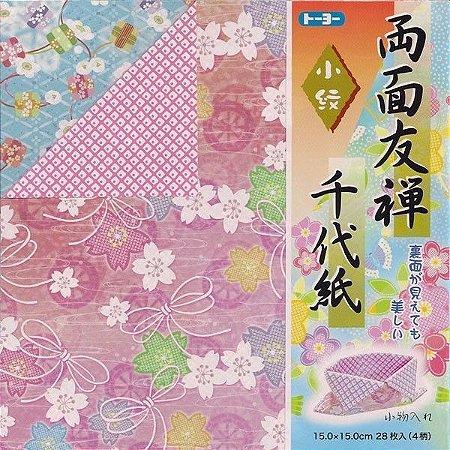 Papel P/ Origami 15x15cm Estampada Dupla-Face 010118-200 Chiyogami (28fls)