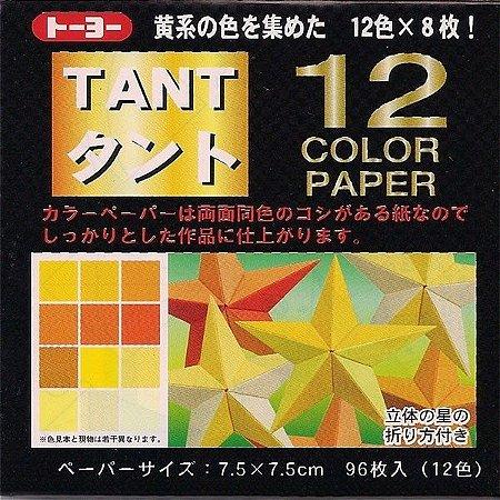 Papel P/ Origami 7,5x7,5cm Liso Dupla Face Tant Amarelo (96fls)