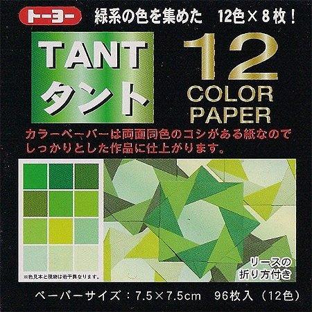 Papel P/ Origami 7,5x7,5cm Liso Dupla Face Tant Verde (96fls)