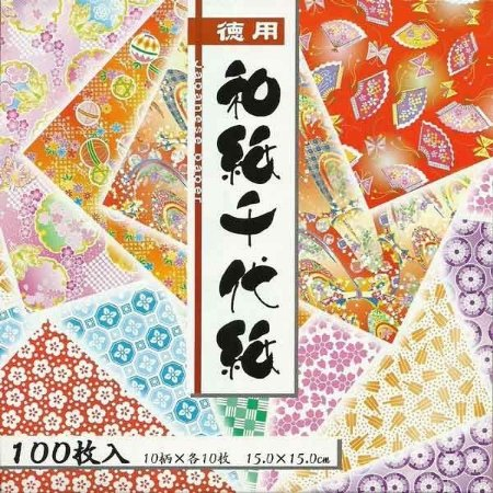 Papel P/ Origami 15x15cm Estampado Face única Washi 018033 (100fls)