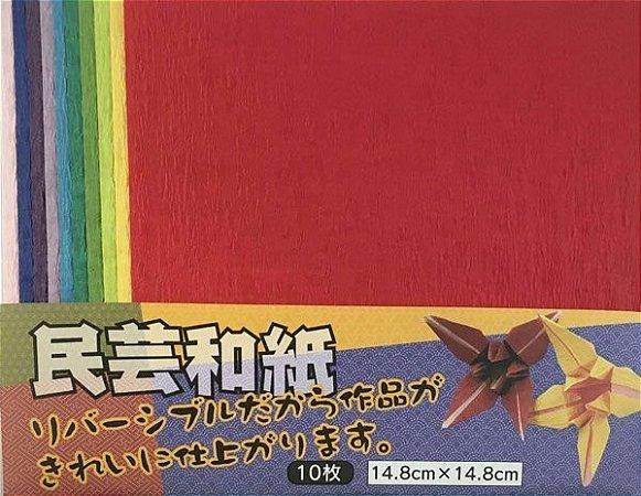 Papel P/ Origami Dupla-Face Lisa Minguei Washi - Komoda (10fls)