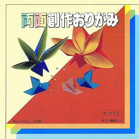 Papel P/ Origami 15x15cm Liso Dupla-face 16 Combinacões De Cores No. 850 (120fls)