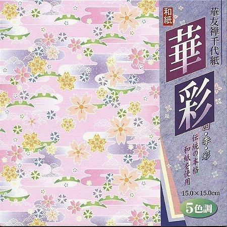 Papel P/ Origami 15x15cm Estampado Face única Chirimen HY2015-F (25fls)