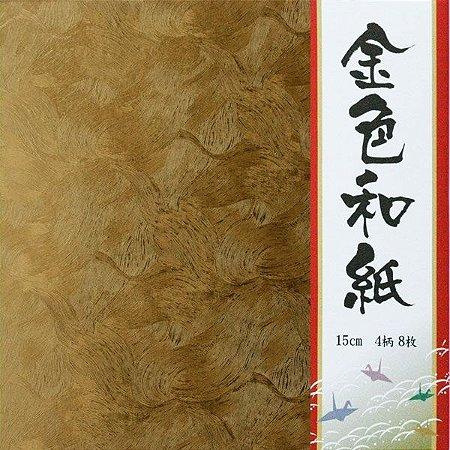 Papel P/ Origami 15x15 Washi Dourado GW-2515 Ehime Shiko (8fls)