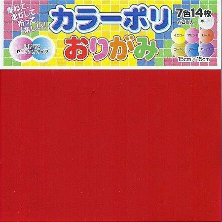 Papel P/ Origami Plástico 15x15 Liso Colour Poly KP-2015 (14fls)