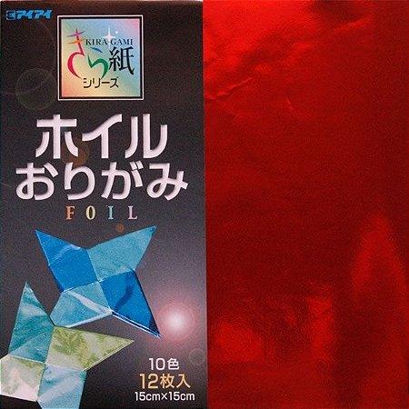 Papel p/ Origami 15x15 Metálico Kiragami Foil Ehime Shiko (12fls)