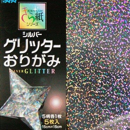 Papel p/ Origami 15x15 Silver Glitter Kiragami Series (5fls)