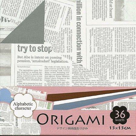 Papel P/ Origami 15x15cm Dupla-face Alphabetic Character DGO15-36E (36fls.)