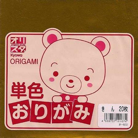Papel P/ Origami 15x15cm Dourado Face única O-622 (20fls)