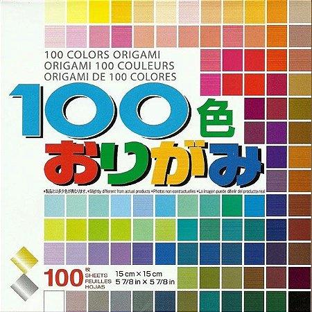 Papel P/ Origami 15x15cm Liso Face única 100 Cores M100C (100 Fls)