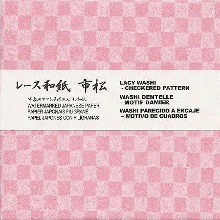 Papel P/ Origami 15x15cm Estampado Lacy Washi - Xadrez LW151 (16fls)