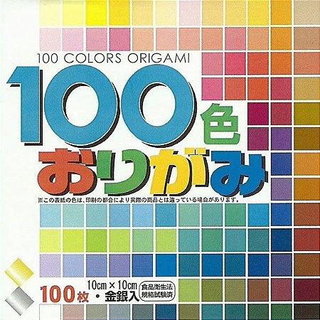 Papel de Origami 10x10cm Liso Face única 100 Cores MS100C (100 Fls)