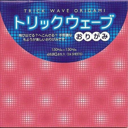 Papel P/ Origami 15x15cm Liso Face única Estampado Trick Wave TR200-200 (24fls)