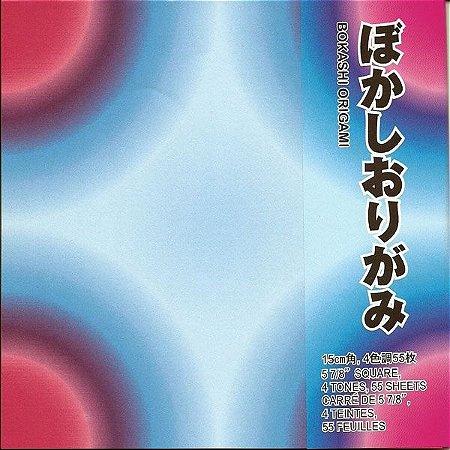 Papel P/ Origami 15x15cm Estampado Face única Bokashi BOK200 (55fls)