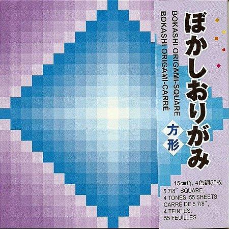 Papel P/ Origami 15x15cm Estampado Face única Bokashi Origami Square BKS200 (55fls)